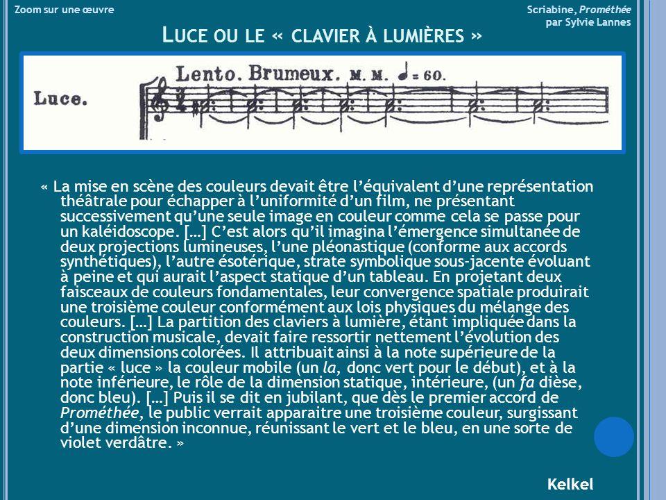 Zoom sur une œuvre Scriabine, Prométhée par Sylvie Lannes L UCE OU LE « CLAVIER À LUMIÈRES » « La mise en scène des couleurs devait être léquivalent dune représentation théâtrale pour échapper à luniformité dun film, ne présentant successivement quune seule image en couleur comme cela se passe pour un kaléidoscope.