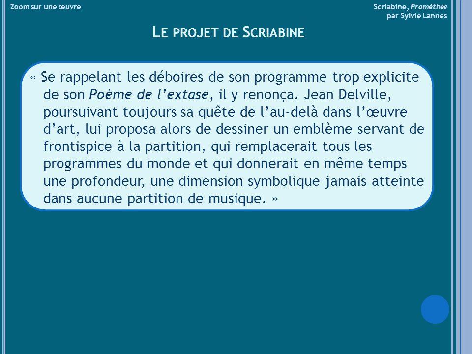Zoom sur une œuvre Scriabine, Prométhée par Sylvie Lannes L ACCORD SYNTHÉTIQUE DE S CRIABINE ET SES DOUZE TRANSPOSITIONS HARMONIQUES ET LUMINEUSES