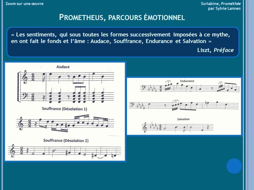 Réexposition, jaune : thème de lEgo (violon solo), thème de lÉmergence de la conscience humaine, 3ce inférieure aux cordes Réexposition, bleu azur : motifs de la Volonté et de la Volupté fusionnent, entrée du chœur et de lorgue Réexposition, bleu : fusion des thèmes, progression vers climax, flot lumineux, flamboiement sonore et visuel accord « synthétique » se résout sur accord de fa dièse majeur Introduction : accord « synthétique », thème du principe créateur (cors), motif de la volonté (trompettes) Exposition, bleu : thème de lÉmergence de la conscience humaine (flûte solo), motif de la volonté et microcosme (piano) Exposition, rose : motif de la Volupté, Thème de lÉgo (piano), Exposition, rouge : dialogue Volonté et Égo Développement, rouge : motif de lAffirmation de soi (« je suis »), polyphonie complexe des thèmes et motifs précédents Zoom sur une œuvre Scriabine, Prométhée par Sylvie Lannes P ARCOURS SONORE ET VISUEL IntroductionExpositionDéveloppementRéexpositionCoda fa dièsesi bémoldorémifa dièse bleuroserougejauneazurbleu Esprit créateurDésir et passionVolonté humaineJoieRêveCréation Repères thématiques (selon le programme du théosophe Asafiev)
