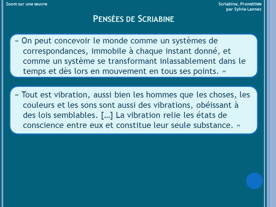 Zoom sur une œuvre Scriabine, Prométhée par Sylvie Lannes P ENSÉES DE S CRIABINE « On peut concevoir le monde comme un systèmes de correspondances, immobile à chaque instant donné, et comme un système se transformant inlassablement dans le temps et dès lors en mouvement en tous ses points.