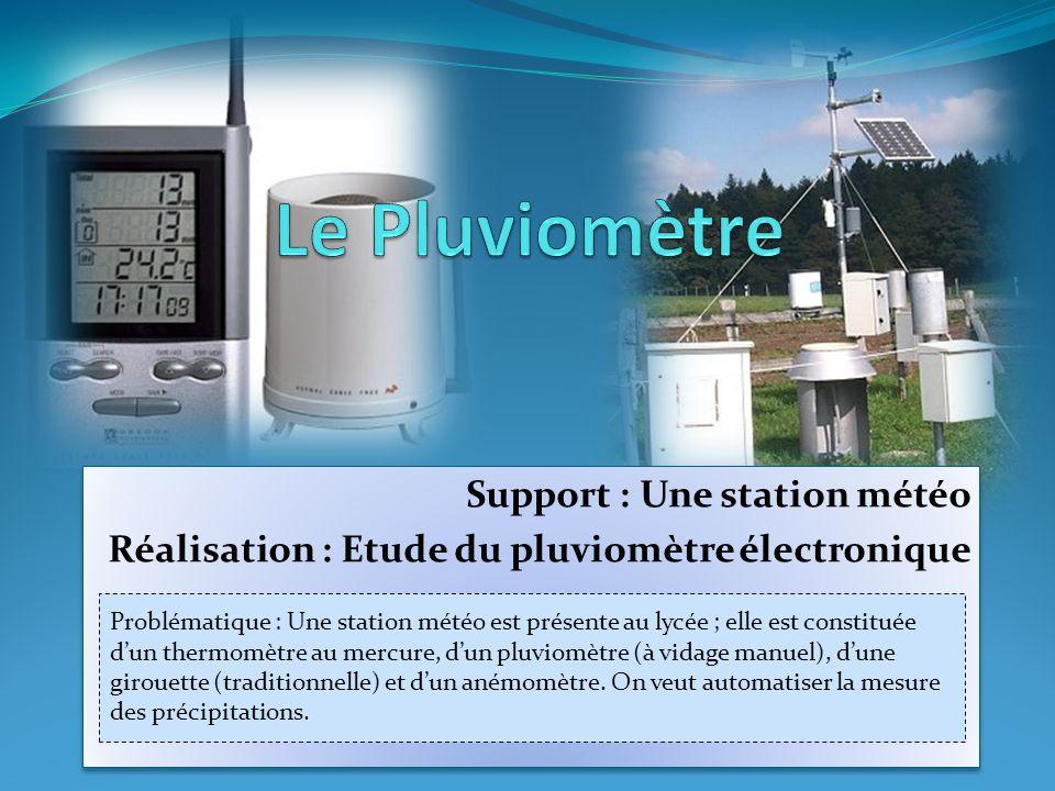 Support : Une station météo Réalisation : Etude du pluviomètre électronique Support : Une station météo Réalisation : Etude du pluviomètre électroniqu
