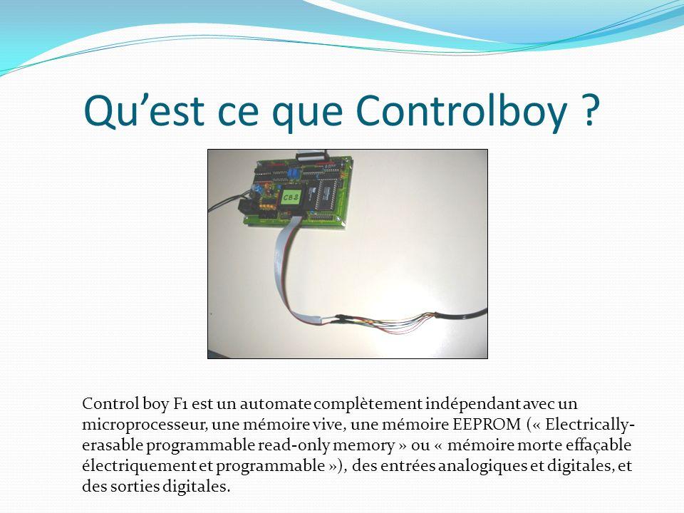 Quest ce que Controlboy ? Control boy F1 est un automate complètement indépendant avec un microprocesseur, une mémoire vive, une mémoire EEPROM (« Ele
