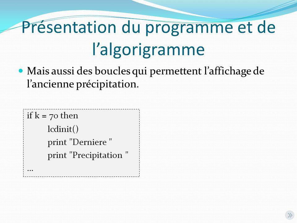 Présentation du programme et de lalgorigramme Mais aussi des boucles qui permettent laffichage de lancienne précipitation. if k = 70 then lcdinit() pr