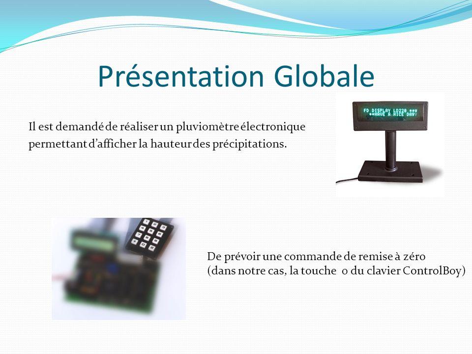 Présentation Globale Il est demandé de réaliser un pluviomètre électronique permettant dafficher la hauteur des précipitations. De prévoir une command