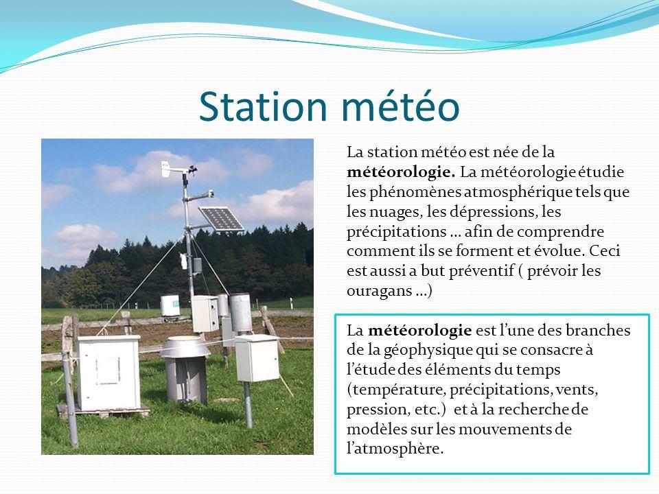 Station météo La station météo est née de la météorologie. La météorologie étudie les phénomènes atmosphérique tels que les nuages, les dépressions, l