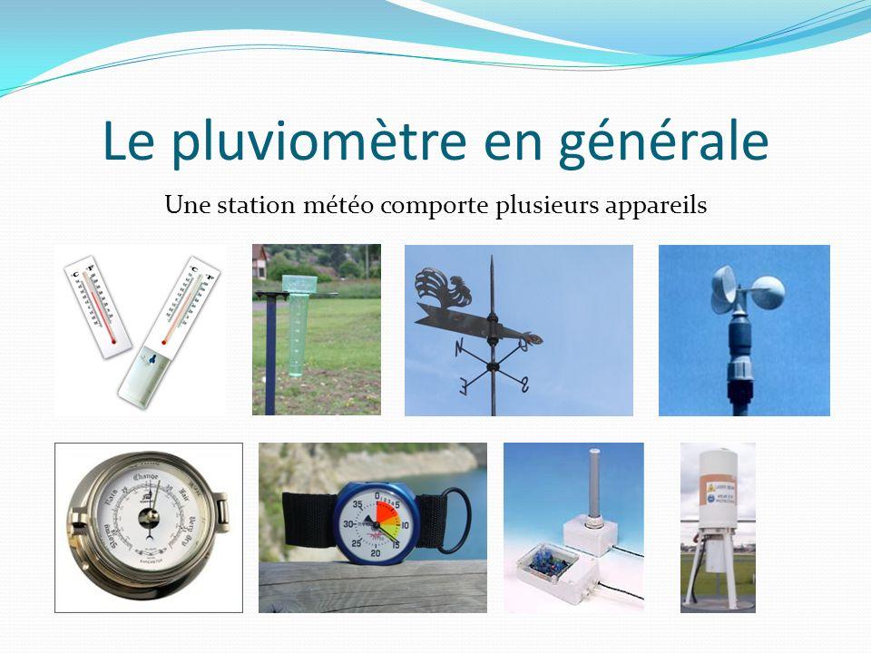 Le pluviomètre en générale Définition : Le pluviomètre est relatif à la pluviométrie.
