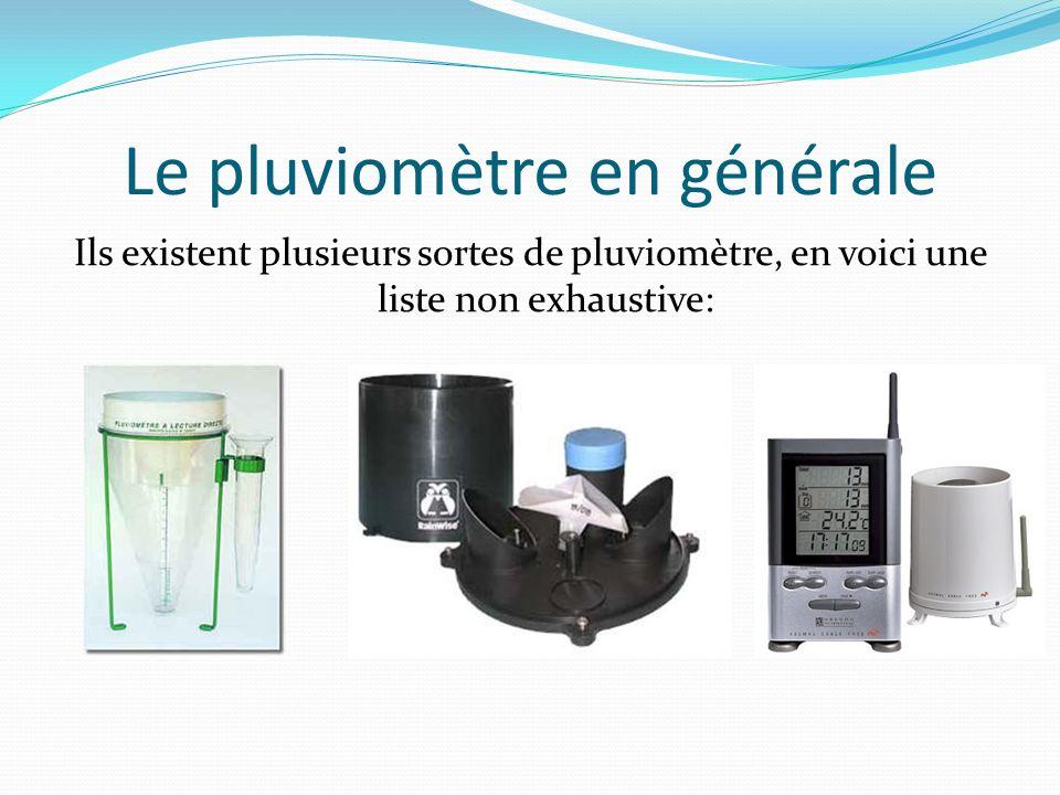 Le pluviomètre en générale Ils existent plusieurs sortes de pluviomètre, en voici une liste non exhaustive: