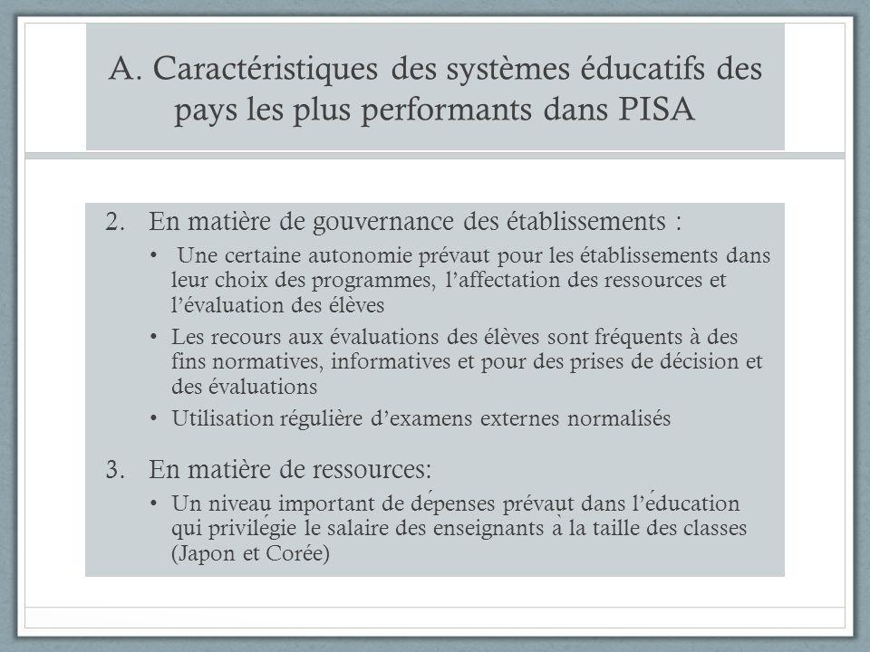 A. Caractéristiques des systèmes éducatifs des pays les plus performants dans PISA 2.En matière de gouvernance des établissements : Une certaine auton