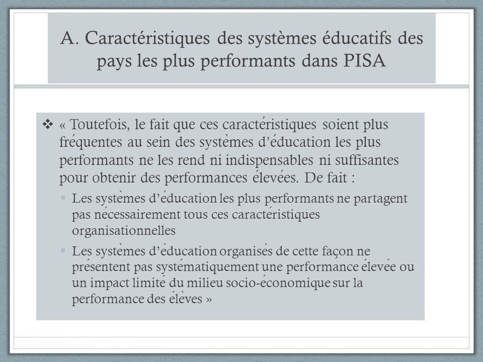 A. Caractéristiques des systèmes éducatifs des pays les plus performants dans PISA « Toutefois, le fait que ces caracteristiques soient plus frequente