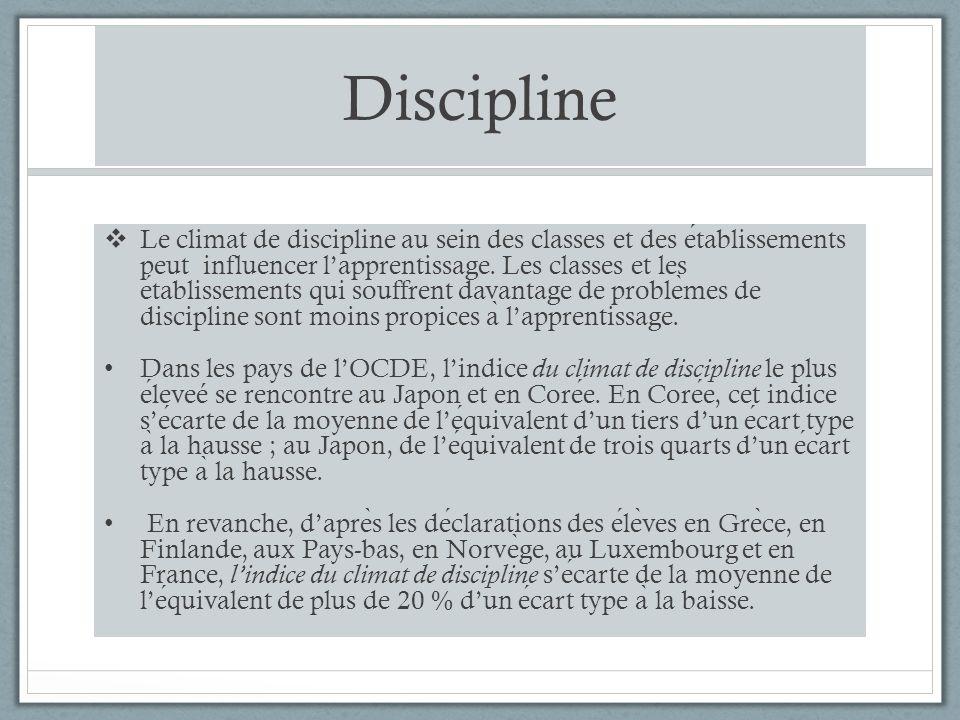 Discipline Le climat de discipline au sein des classes et des etablissements peut influencer lapprentissage.