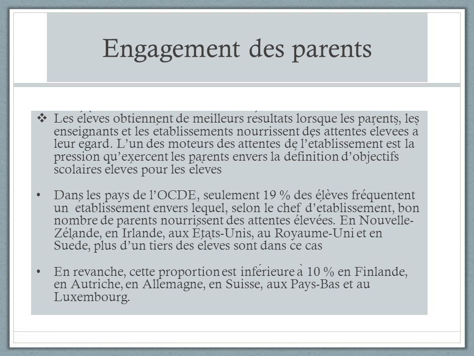Engagement des parents Les ele ̀ ves obtiennent de meilleurs resultats lorsque les parents, les enseignants et les etablissements nourrissent des attentes elevees a ̀ leur egard.