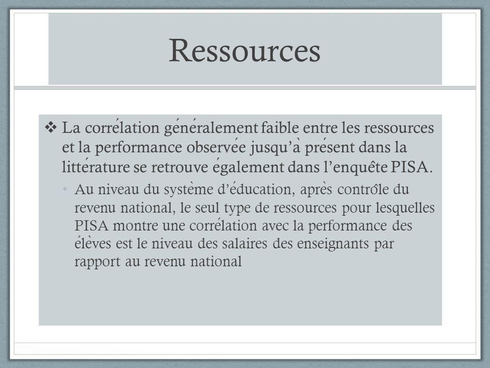 Ressources La correlation generalement faible entre les ressources et la performance observee jusqua ̀ present dans la litterature se retrouve egalement dans lenque ̂ te PISA.