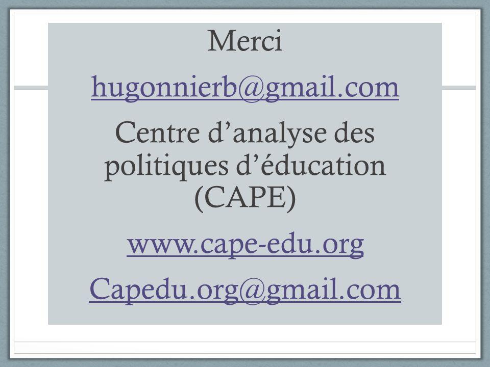 Merci hugonnierb@gmail.com Centre danalyse des politiques déducation (CAPE) www.cape-edu.org Capedu.org@gmail.com