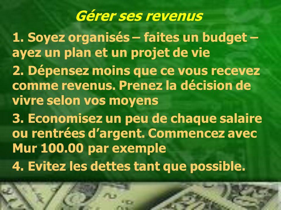 Gérer ses revenus 1.Soyez organisés – faites un budget – ayez un plan et un projet de vie 2.