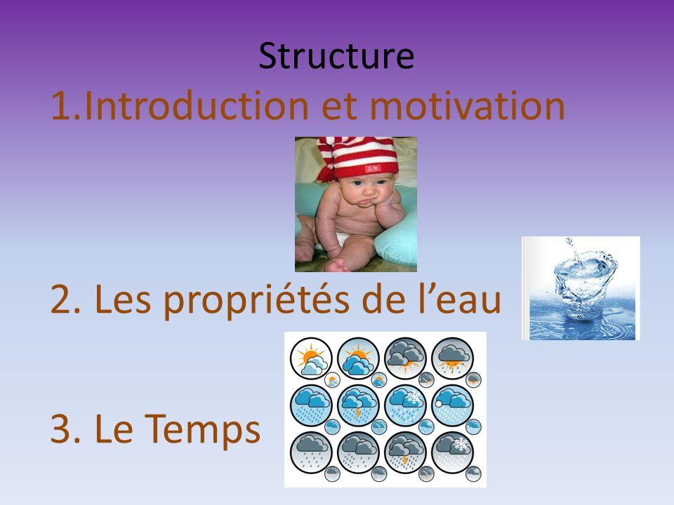 Structure 1.Introduction et motivation 2. Les propriétés de leau 3. Le Temps