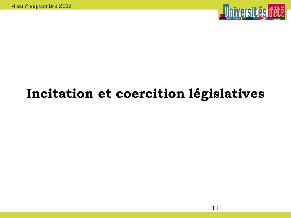 11 Incitation et coercition législatives