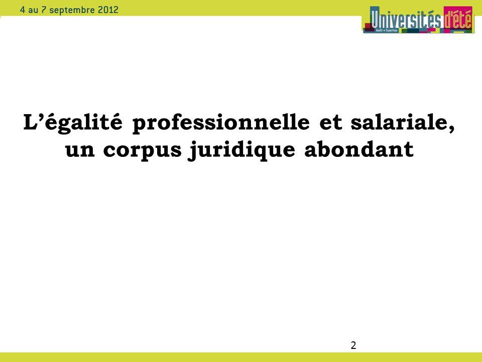 2 Légalité professionnelle et salariale, un corpus juridique abondant