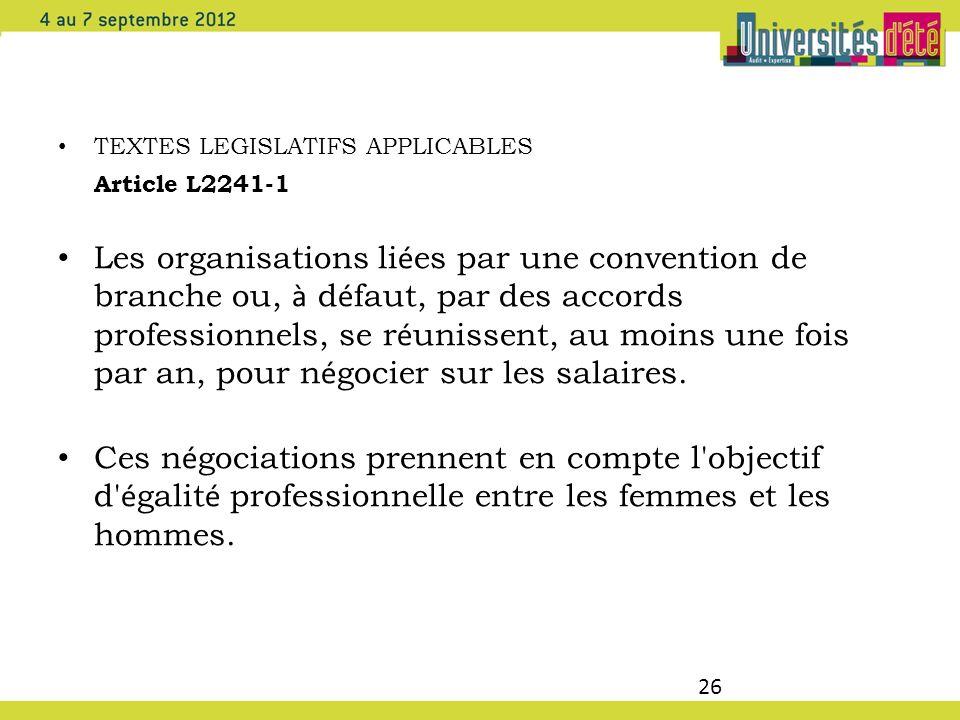 26 TEXTES LEGISLATIFS APPLICABLES Article L2241-1 Les organisations li é es par une convention de branche ou, à d é faut, par des accords professionne