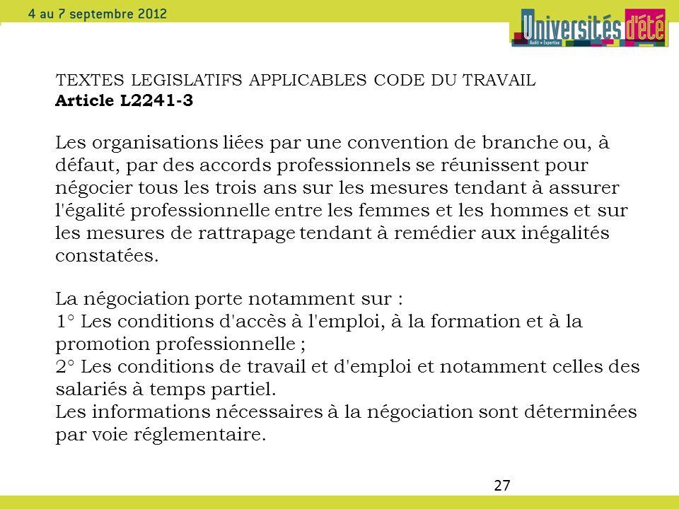 27 TEXTES LEGISLATIFS APPLICABLES CODE DU TRAVAIL Article L2241-3 Les organisations liées par une convention de branche ou, à défaut, par des accords