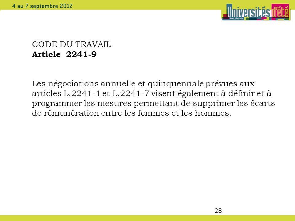 28 CODE DU TRAVAIL Article 2241-9 Les négociations annuelle et quinquennale prévues aux articles L.2241-1 et L.2241-7 visent également à définir et à