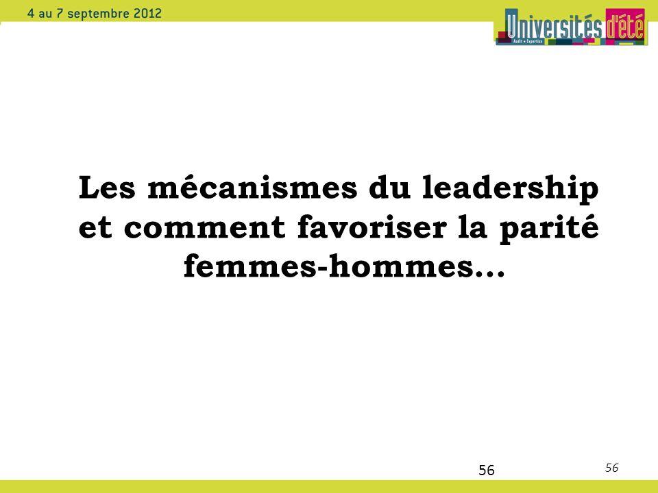 56 Les mécanismes du leadership et comment favoriser la parité femmes-hommes… 56