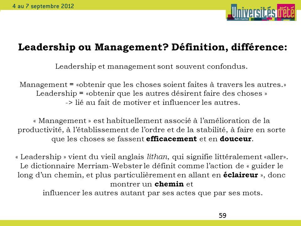 59 Leadership ou Management? Définition, différence: Leadership et management sont souvent confondus. Management = «obtenir que les choses soient fait