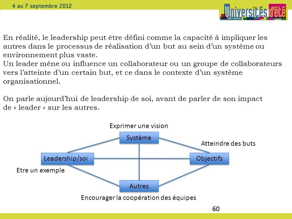 60 En réalité, le leadership peut être défini comme la capacité à impliquer les autres dans le processus de réalisation dun but au sein dun système ou
