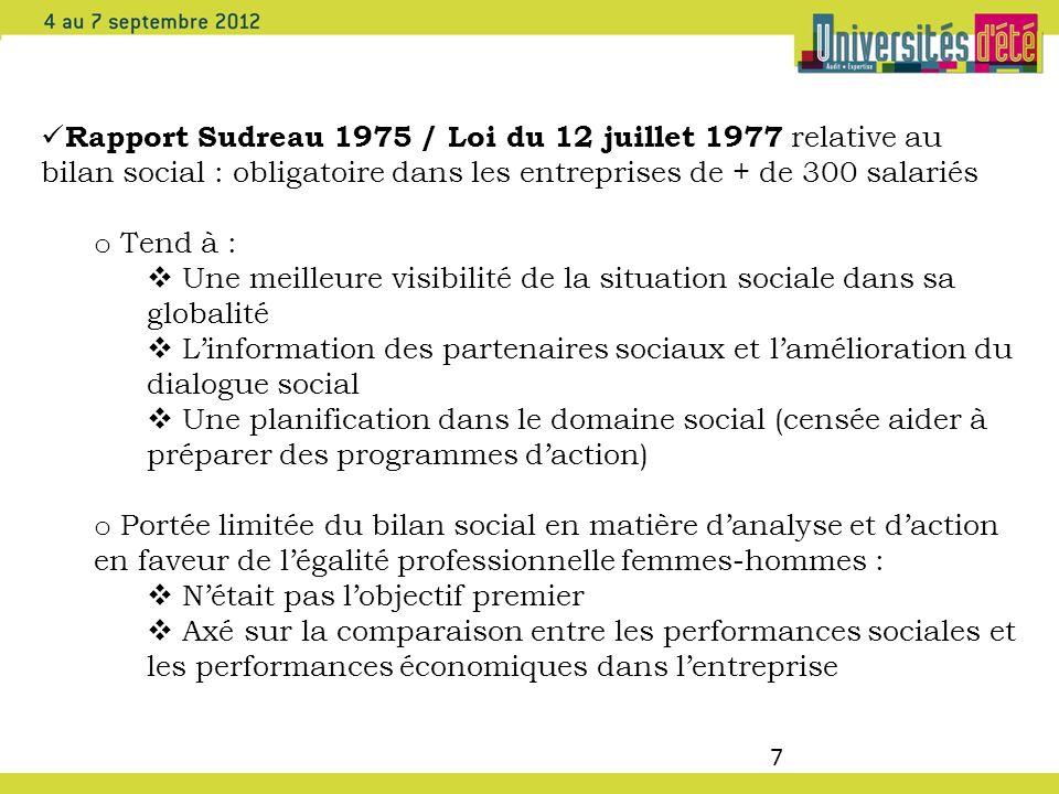 7 Rapport Sudreau 1975 / Loi du 12 juillet 1977 relative au bilan social : obligatoire dans les entreprises de + de 300 salariés o Tend à : Une meille