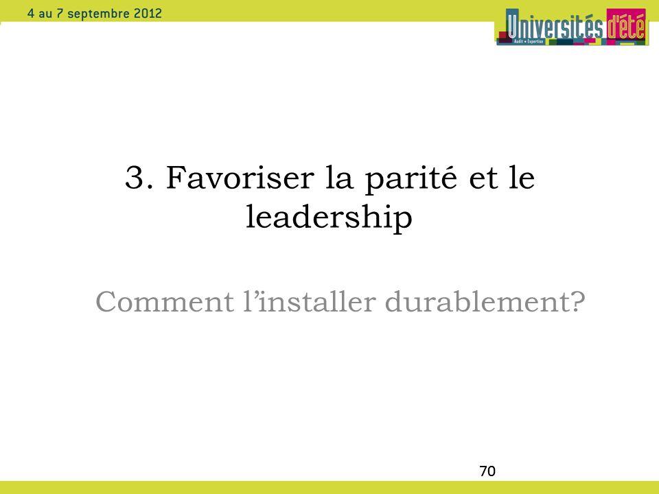 70 3. Favoriser la parité et le leadership Comment linstaller durablement? 70