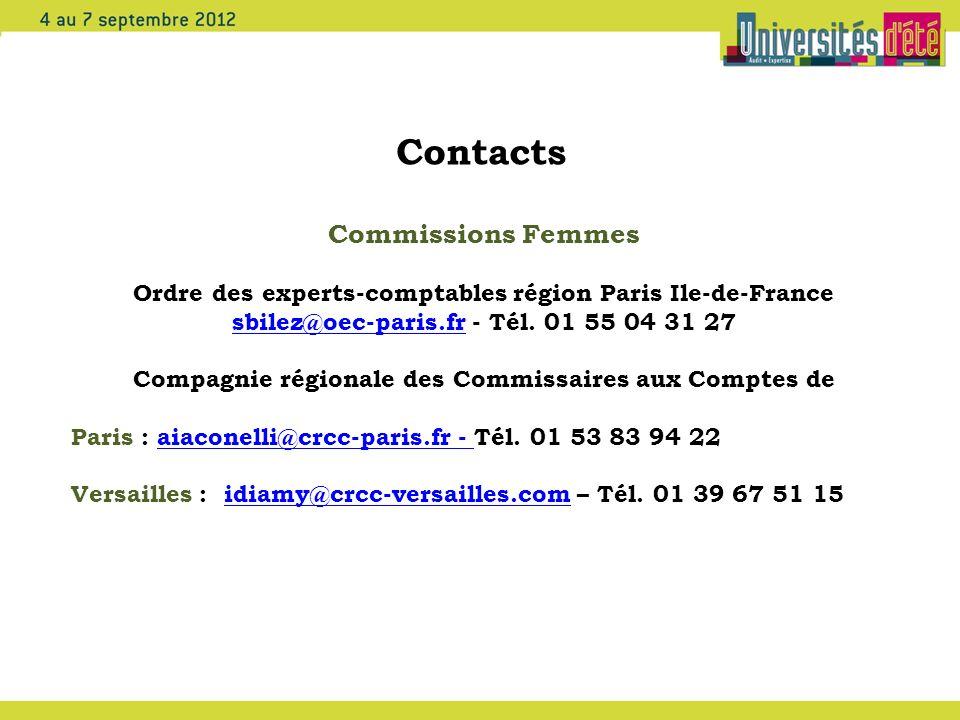 Contacts Commissions Femmes Ordre des experts-comptables région Paris Ile-de-France sbilez@oec-paris.frsbilez@oec-paris.fr - Tél. 01 55 04 31 27 Compa