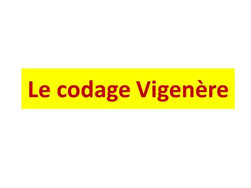 Historique Le codage Vigenère consiste à utiliser un mot clé choisi au hasard pour crypter ou décrypter un message.