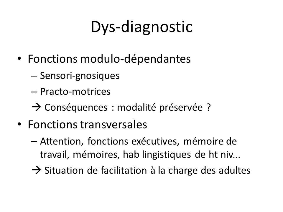 Dys-diagnostic Fonctions modulo-dépendantes – Sensori-gnosiques – Practo-motrices Conséquences : modalité préservée ? Fonctions transversales – Attent