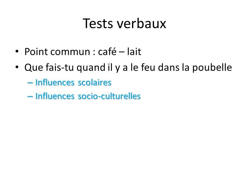 Tests verbaux Point commun : café – lait Que fais-tu quand il y a le feu dans la poubelle – Influences scolaires – Influences socio-culturelles