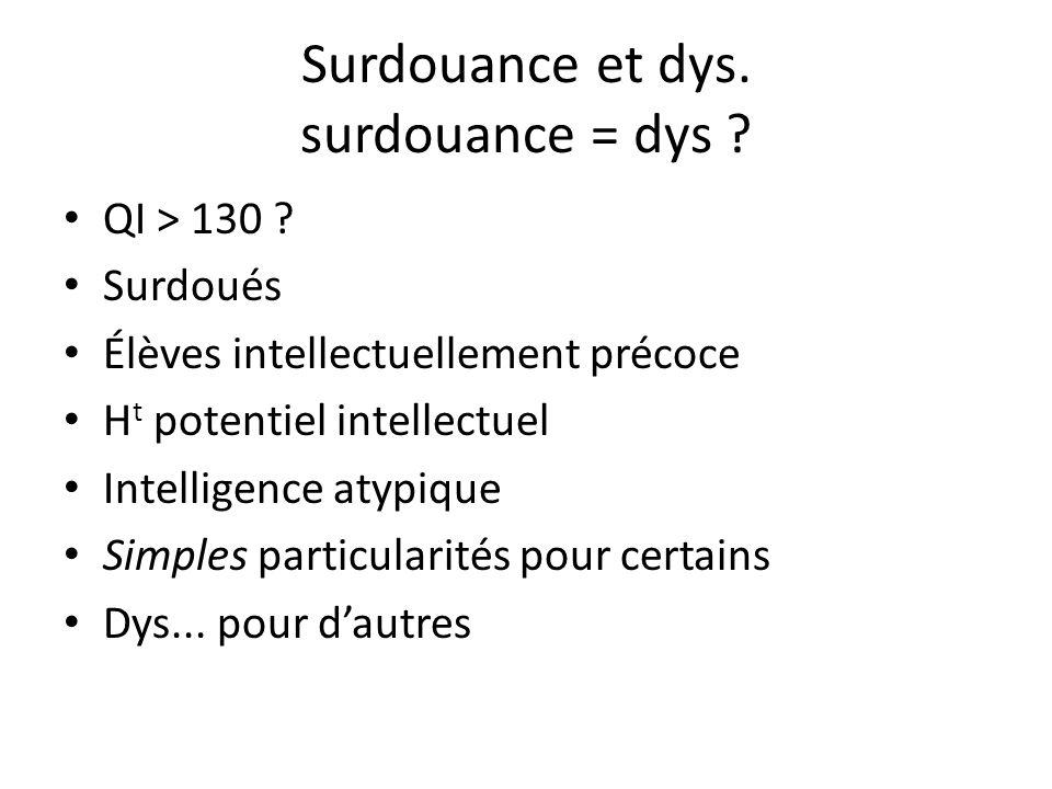 Surdouance et dys. surdouance = dys ? QI > 130 ? Surdoués Élèves intellectuellement précoce H t potentiel intellectuel Intelligence atypique Simples p