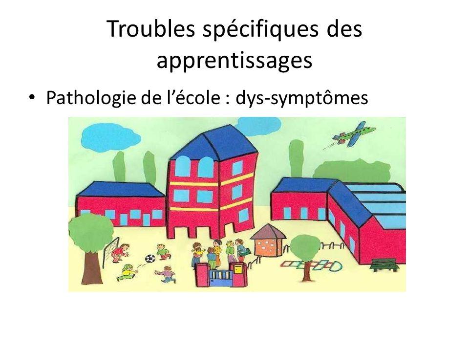 Troubles spécifiques des apprentissages Pathologie de lécole : dys-symptômes