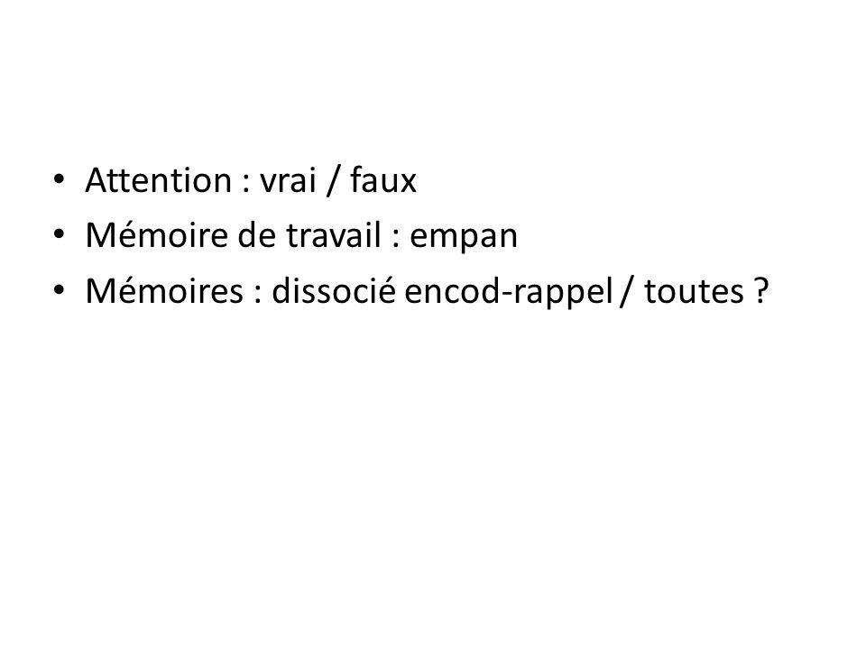 Attention : vrai / faux Mémoire de travail : empan Mémoires : dissocié encod-rappel / toutes ?