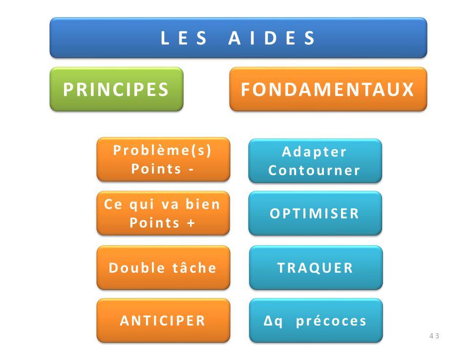 43 L E S A I D E S PRINCIPES FONDAMENTAUX Problème(s) Points - Problème(s) Points - Ce qui va bien Points + Double tâche ANTICIPER OPTIMISER Adapter C