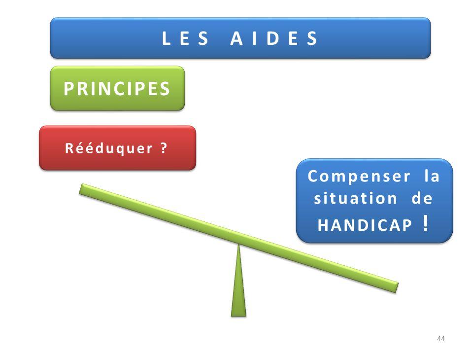 L E S A I D E S PRINCIPES Rééduquer ? Compenser la situation de HANDICAP ! Compenser la situation de HANDICAP ! 44