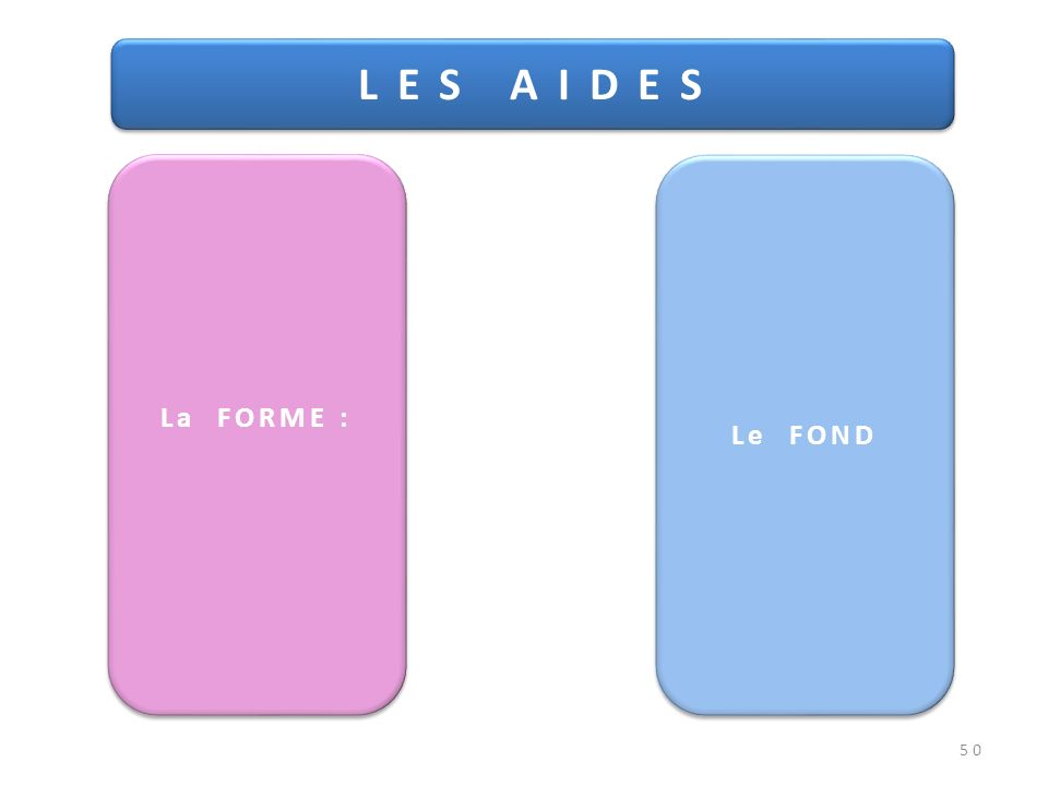 50 L E S A I D E S La FORME : Le FOND
