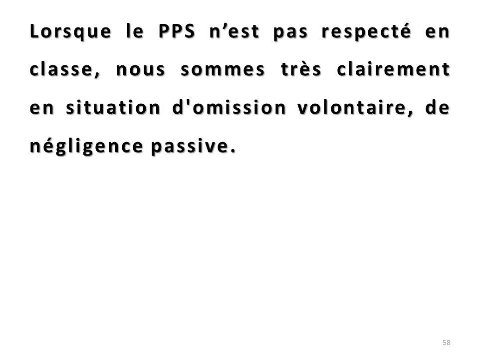 Lorsque le PPS nest pas respecté en classe, nous sommes très clairement en situation d'omission volontaire, de négligence passive. 58