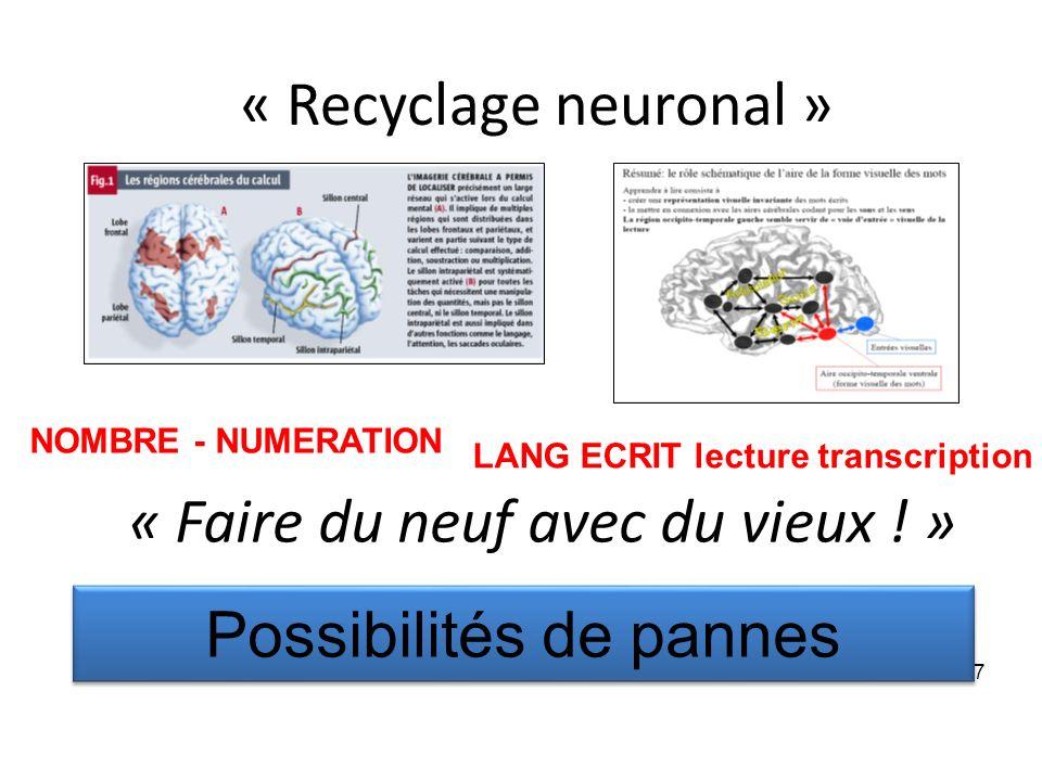 « Recyclage neuronal » « Faire du neuf avec du vieux ! » 7 Possibilités de pannes NOMBRE - NUMERATION LANG ECRIT lecture transcription