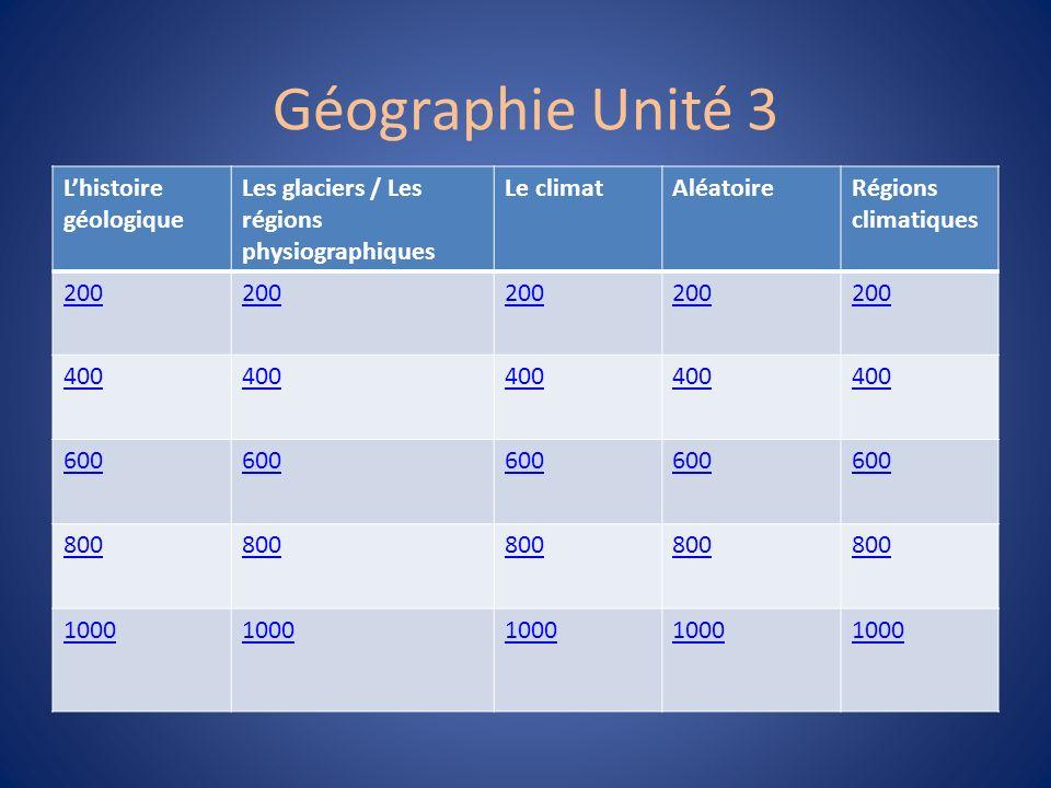 Géographie Unité 3 Lhistoire géologique Les glaciers / Les régions physiographiques Le climatAléatoireRégions climatiques 200 400 600 800 1000