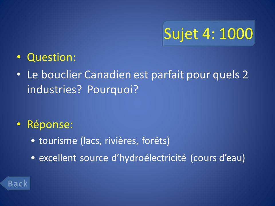 Sujet 4: 1000 Question: Le bouclier Canadien est parfait pour quels 2 industries.