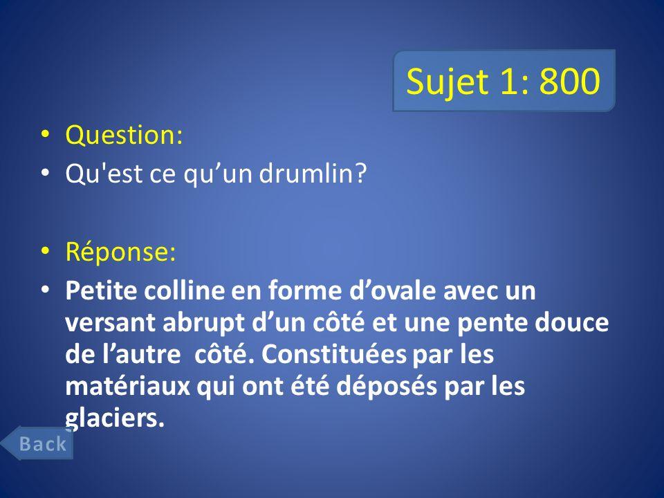 Sujet 1: 800 Question: Qu est ce quun drumlin.