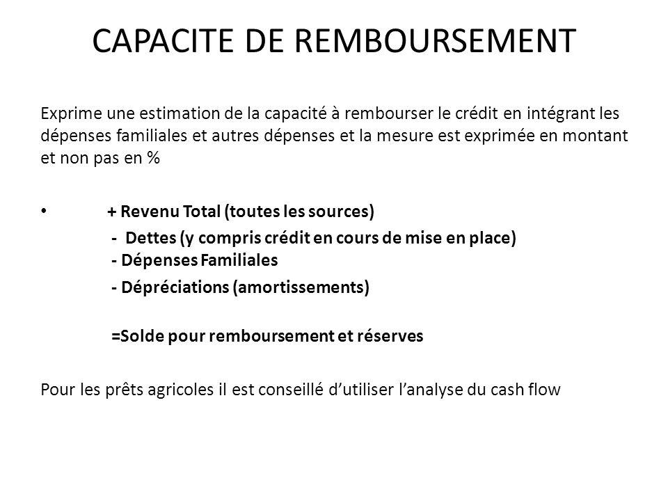 CAPACITE DE REMBOURSEMENT Exprime une estimation de la capacité à rembourser le crédit en intégrant les dépenses familiales et autres dépenses et la mesure est exprimée en montant et non pas en % + Revenu Total (toutes les sources) - Dettes (y compris crédit en cours de mise en place) - Dépenses Familiales - Dépréciations (amortissements) =Solde pour remboursement et réserves Pour les prêts agricoles il est conseillé dutiliser lanalyse du cash flow