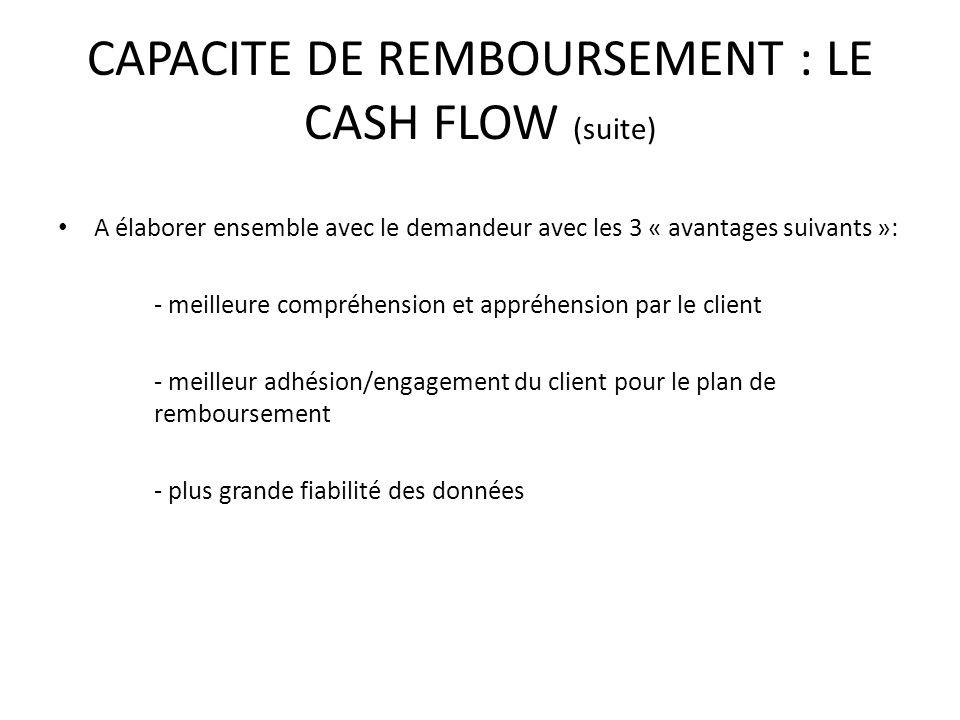 CAPACITE DE REMBOURSEMENT : LE CASH FLOW (suite) A élaborer ensemble avec le demandeur avec les 3 « avantages suivants »: - meilleure compréhension et appréhension par le client - meilleur adhésion/engagement du client pour le plan de remboursement - plus grande fiabilité des données