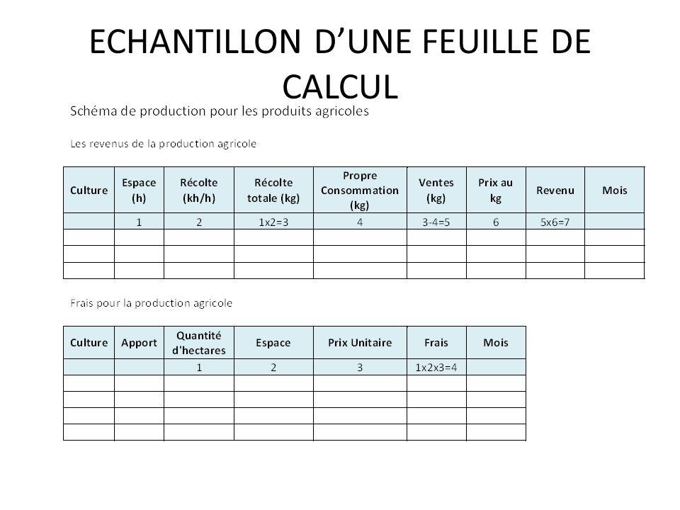 ECHANTILLON DUNE FEUILLE DE CALCUL