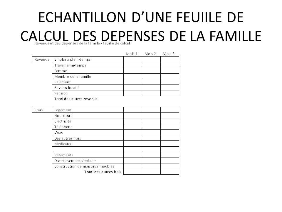 ECHANTILLON DUNE FEUIILE DE CALCUL DES DEPENSES DE LA FAMILLE