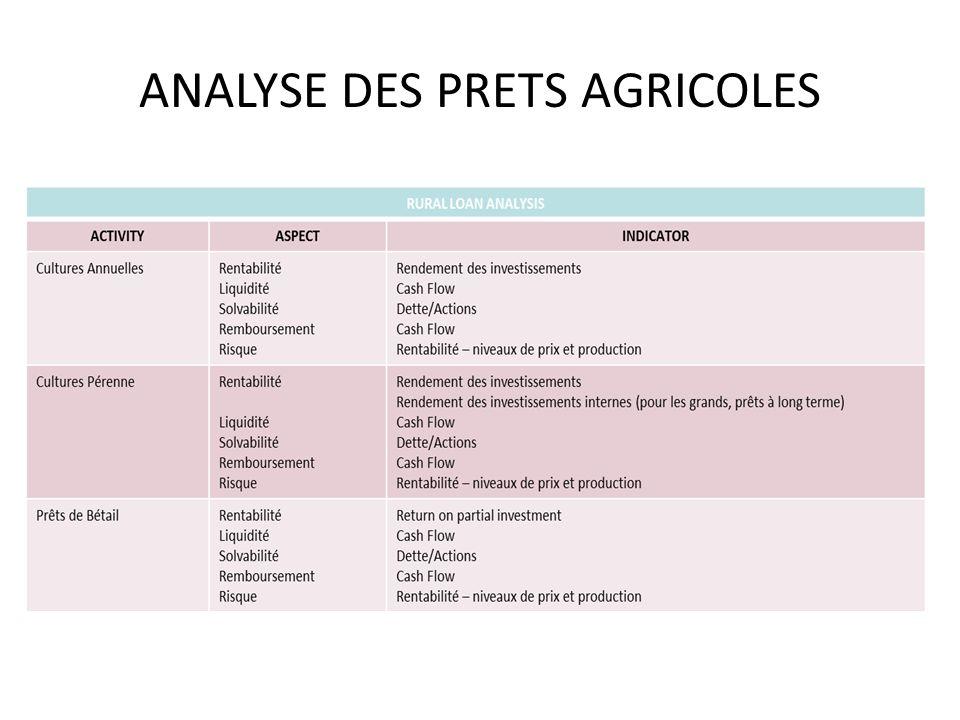 ANALYSE DES PRETS AGRICOLES