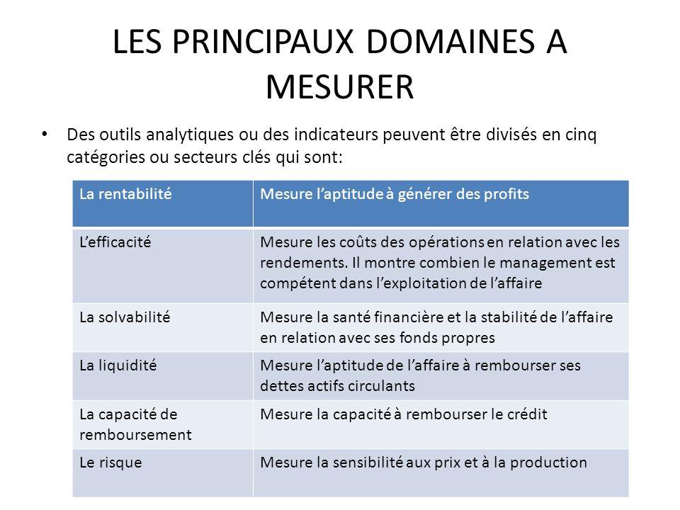 LES PRINCIPAUX DOMAINES A MESURER Des outils analytiques ou des indicateurs peuvent être divisés en cinq catégories ou secteurs clés qui sont: La rent